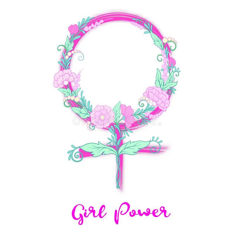 Знак феминизма вектора с цветками Сила девушек иллюстрация вектора