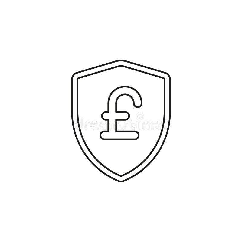 Знак фунта со значком экрана Эмблема защиты иллюстрация вектора
