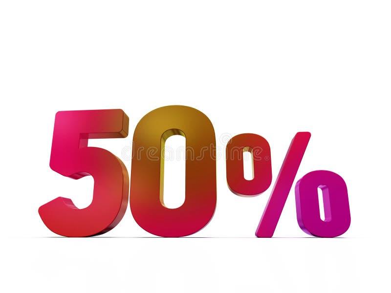 знак цены со скидкой 50%, цифры 3D, красные на белизне иллюстрация вектора