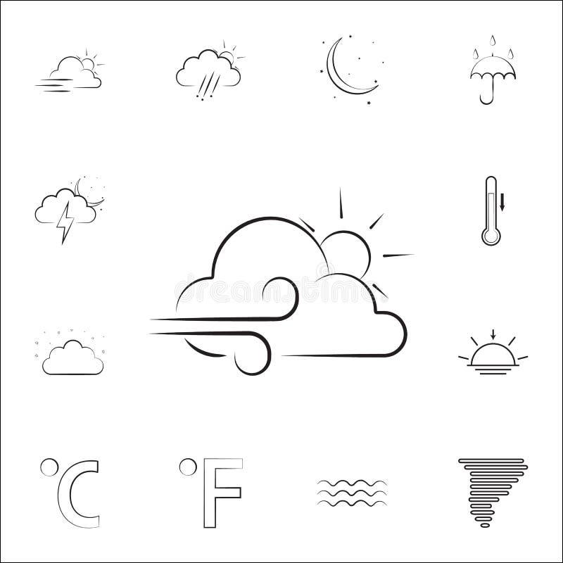 знак частично-ветра с значком солнца Выдержите комплект значков всеобщий для сети и черни иллюстрация вектора