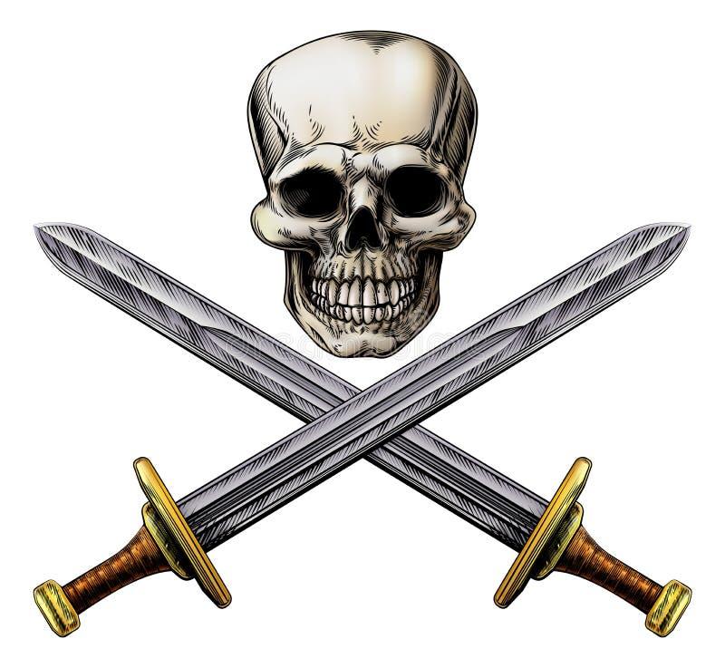 Знак черепа и пирата шпаг креста бесплатная иллюстрация