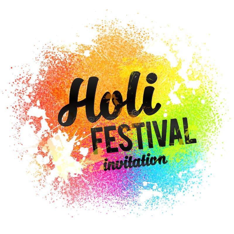 Знак черноты приглашения фестиваля Holi на радуге красит порошок краски и падает предпосылка бесплатная иллюстрация