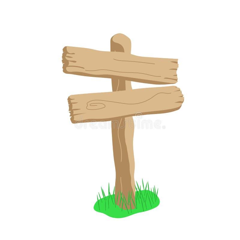 Знак шаржа формы 2 стрелок деревянный изолированный на белизне бесплатная иллюстрация