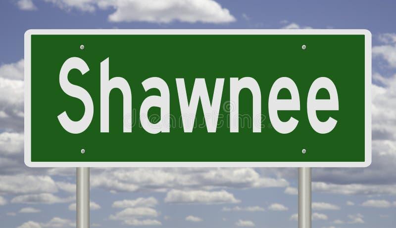 Знак шоссе для Shawnee Канзаса стоковые фото