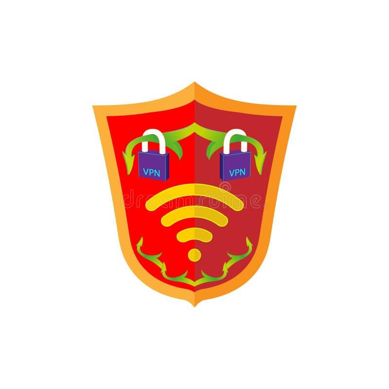 Знак экрана безопасности VPN, защищает концепцию Экран красного цвета эмблемы знака wifi безопасностью интернета Значок иллюстрац иллюстрация штока