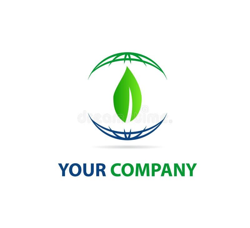 Знак элемента значка логотипа концепции компании земли и лист глобуса иллюстрация штока