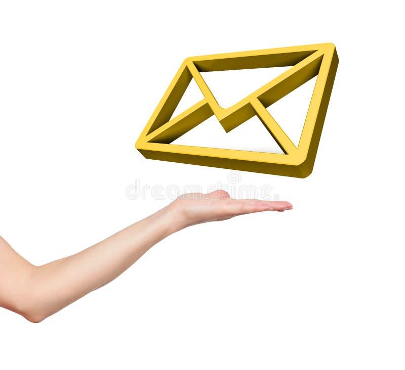 Знак электронной почты золота иллюстрация вектора