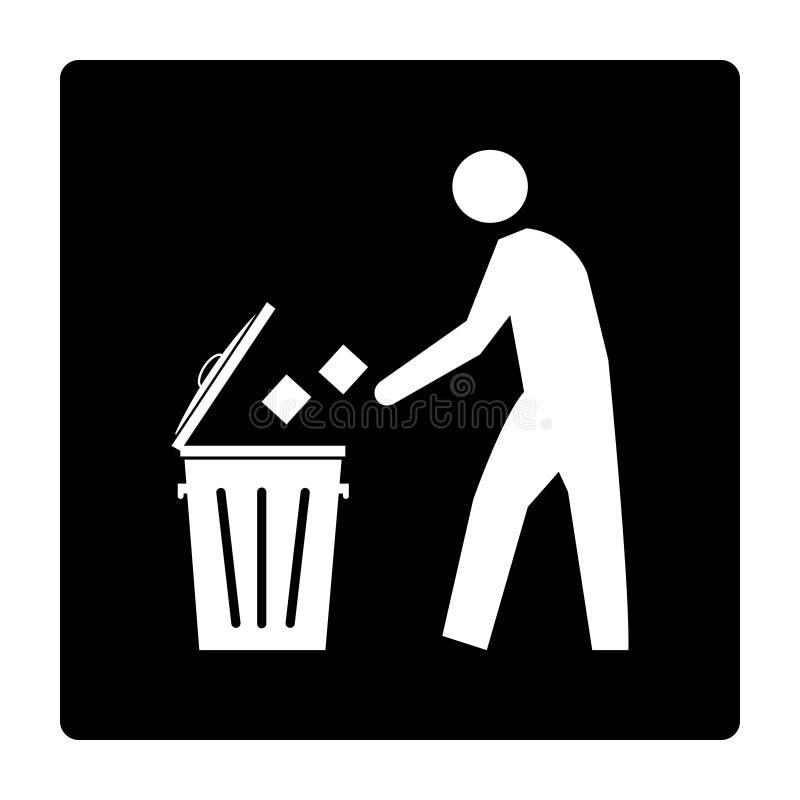 Знак ящика хлама на черном чертеже предпосылки иллюстрацией иллюстрация вектора