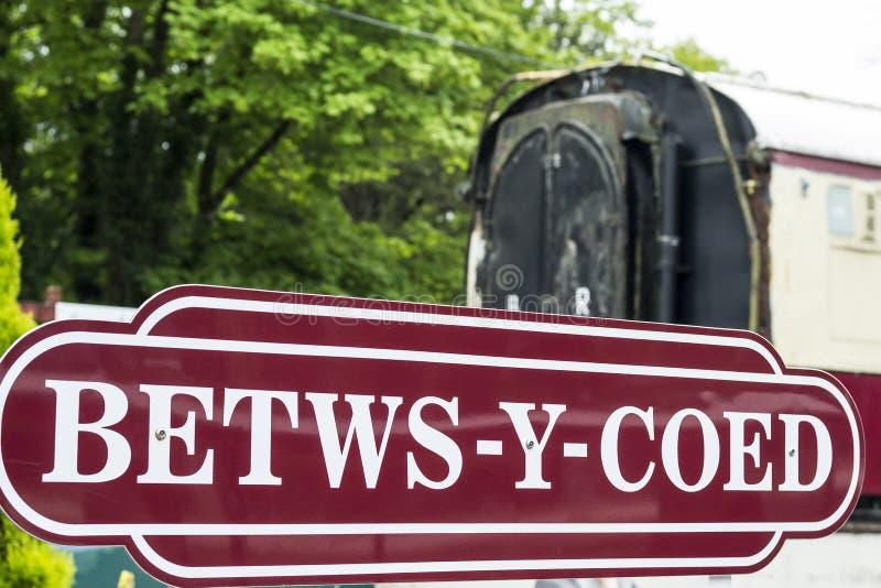 Знак Betws-y-Coed стоковое фото rf