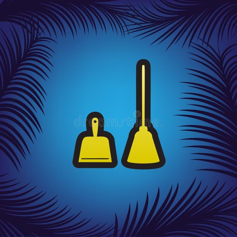 Знак Dustpan Ветроуловитель для очищая dustpan домашнего хозяйства отброса оборудует иллюстрация вектора