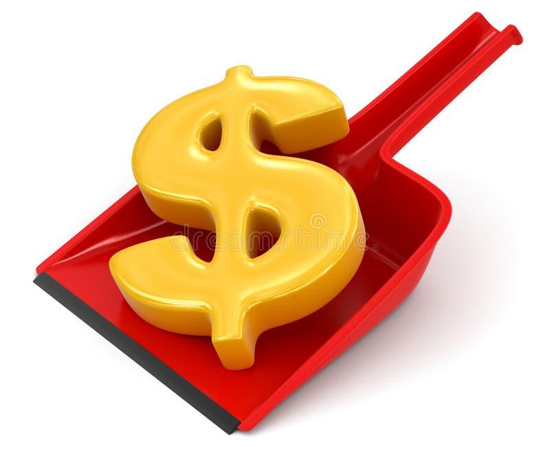 Знак Dustpan и доллара (включенный путь клиппирования) иллюстрация штока