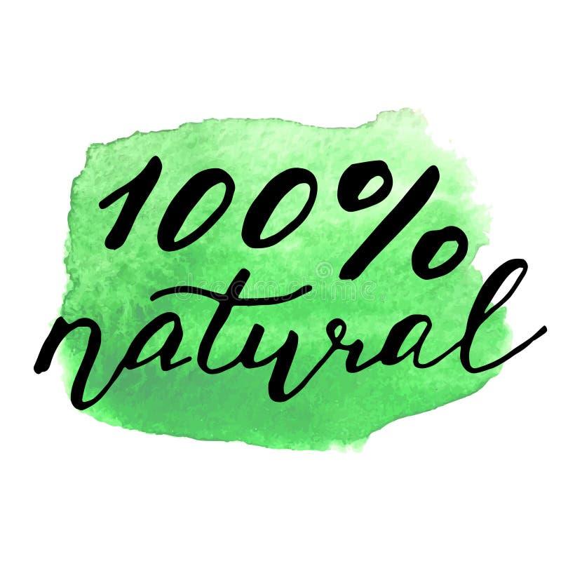 Знак Eco био на пятне акварели Естественное органическое иллюстрация вектора