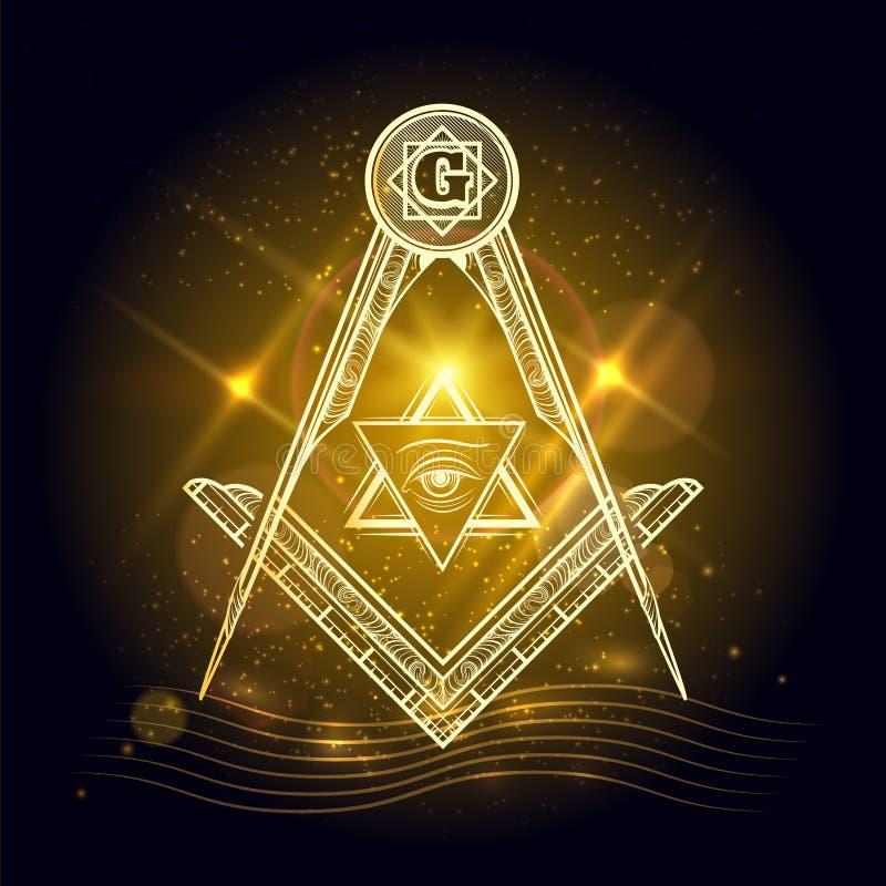 Знак Freemasony на сияющей предпосылке иллюстрация вектора