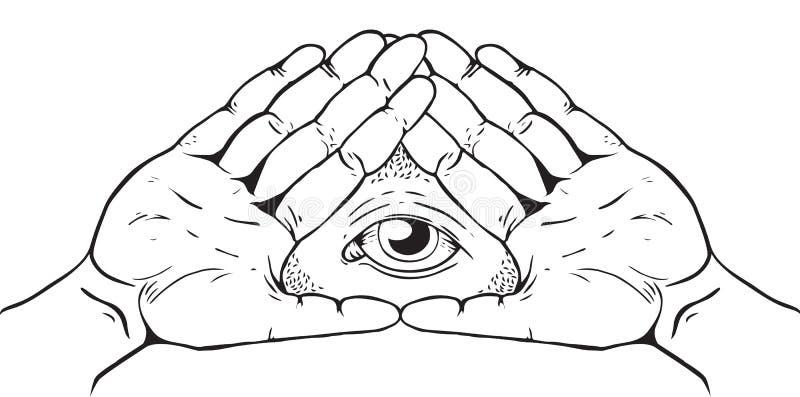 Знак Illuminati - глаз бога иллюстрация вектора