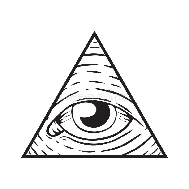 Знак Illuminati - глаз бога иллюстрация штока
