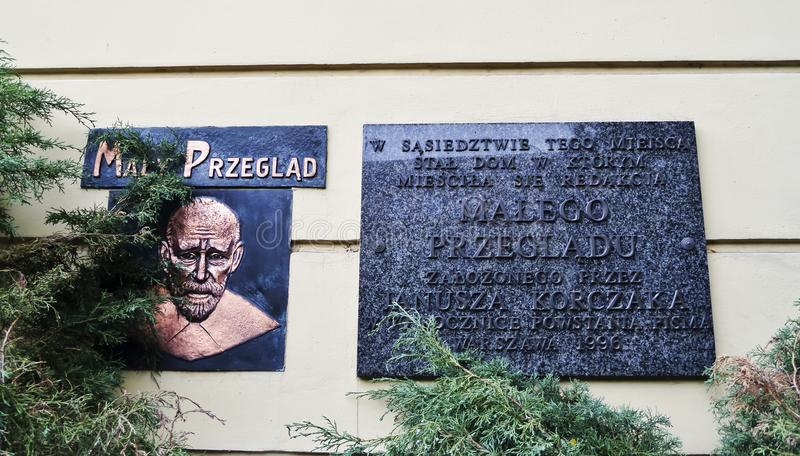Знак Janusza Korczaka мемориальный - 6-ое июля 2015 - Варшава, Польша стоковые фотографии rf