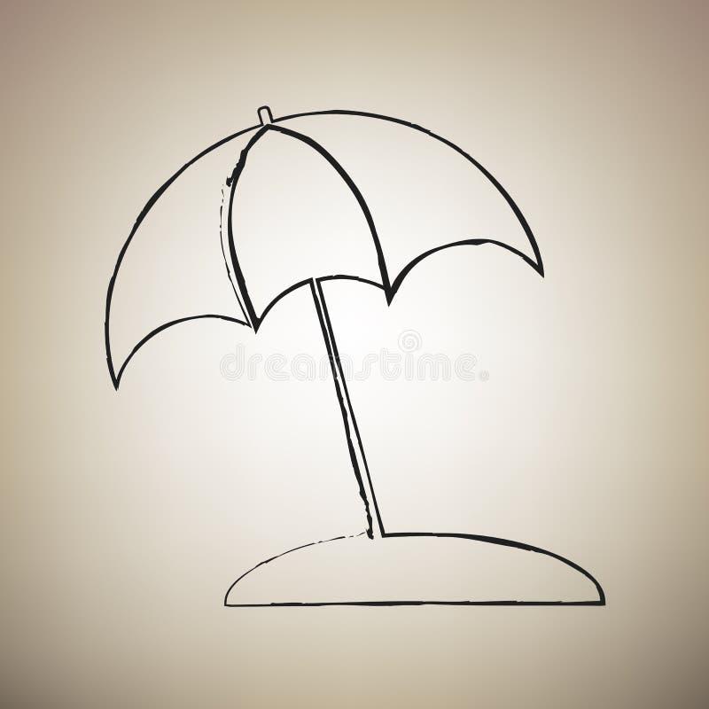 Знак lounger зонтика и солнца вектор Значок drawed щеткой черный a иллюстрация вектора