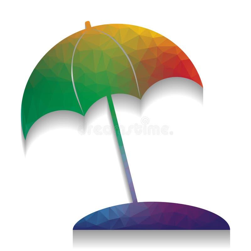 Знак lounger зонтика и солнца вектор Красочный значок с яркой бесплатная иллюстрация