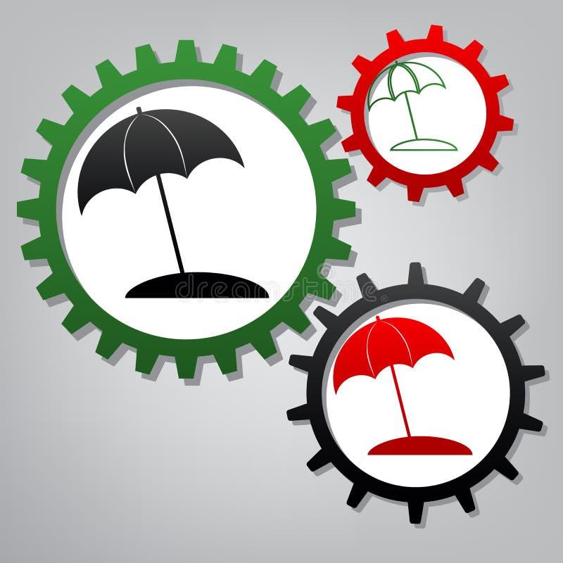 Знак lounger зонтика и солнца вектор Острословие 3 соединенное шестерней иллюстрация вектора