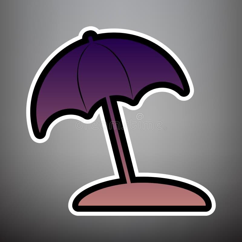 Знак lounger зонтика и солнца вектор Фиолетовый значок градиента с иллюстрация штока