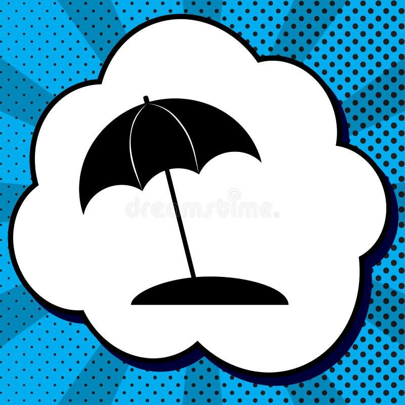 Знак lounger зонтика и солнца вектор Черный значок в пузыре на b иллюстрация вектора