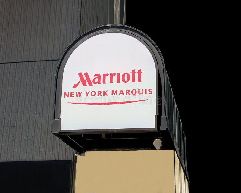 знак marriott маркиз ny стоковое изображение