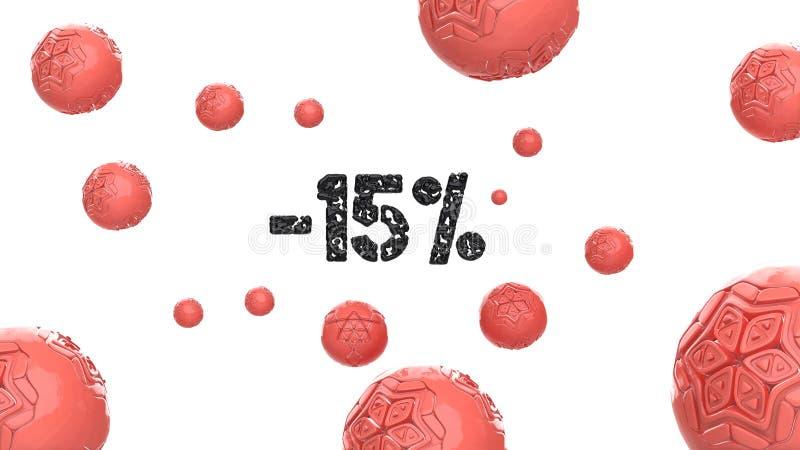 Знак -15off Сделанный черных лоснистых сфер материала и hi-техника ультрамодного розового цвета вокруг, изолируйте на белизне иллюстрация штока