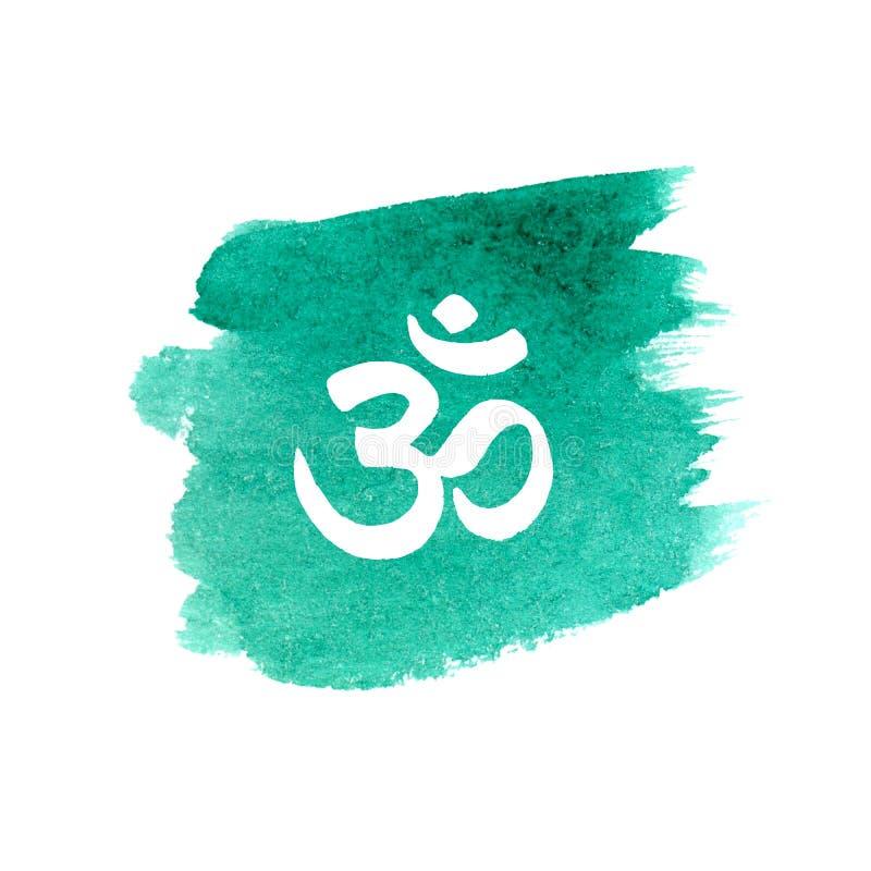 Знак Om на предпосылке зеленого цвета акварели иллюстрация вектора