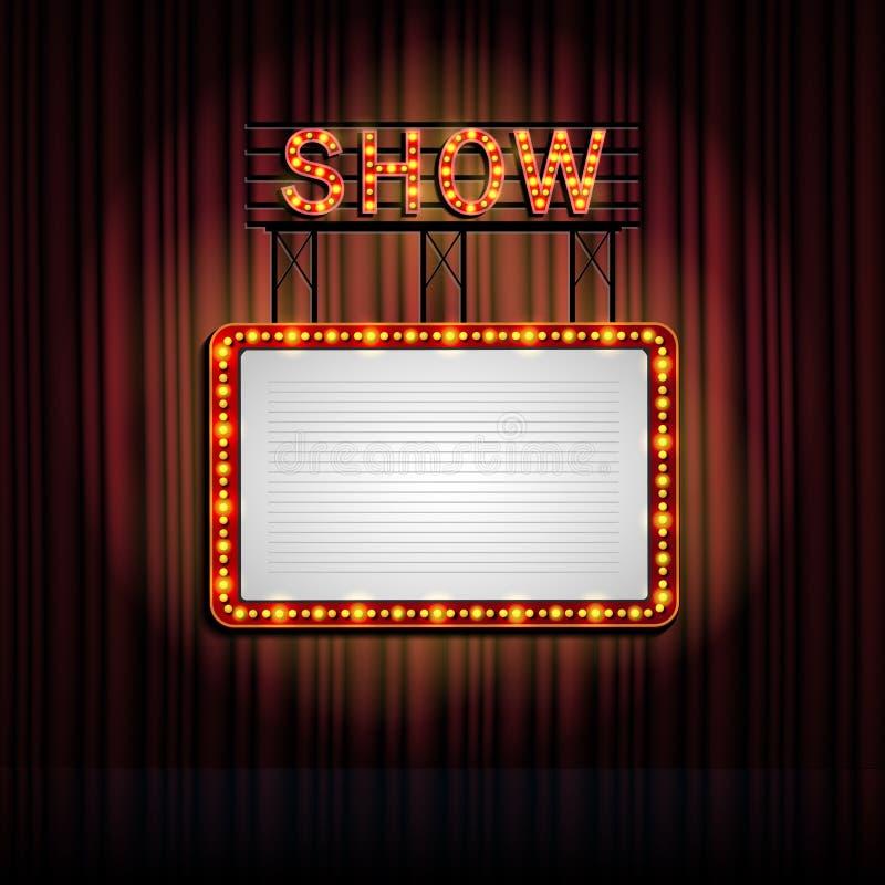 Знак Showtime ретро с предпосылкой занавеса иллюстрация вектора