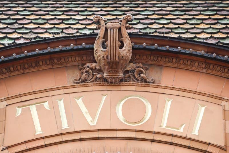 Знак Tivoli на стене стоковая фотография