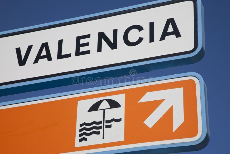 знак valencia пляжа стоковое изображение