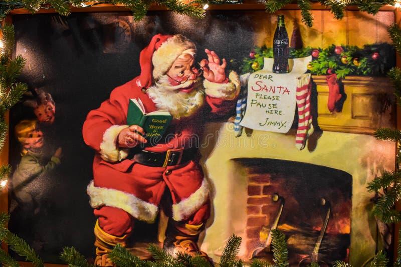 Знак Vintage Coca Cola на праздновании Рождества в Seaworld 7 стоковая фотография