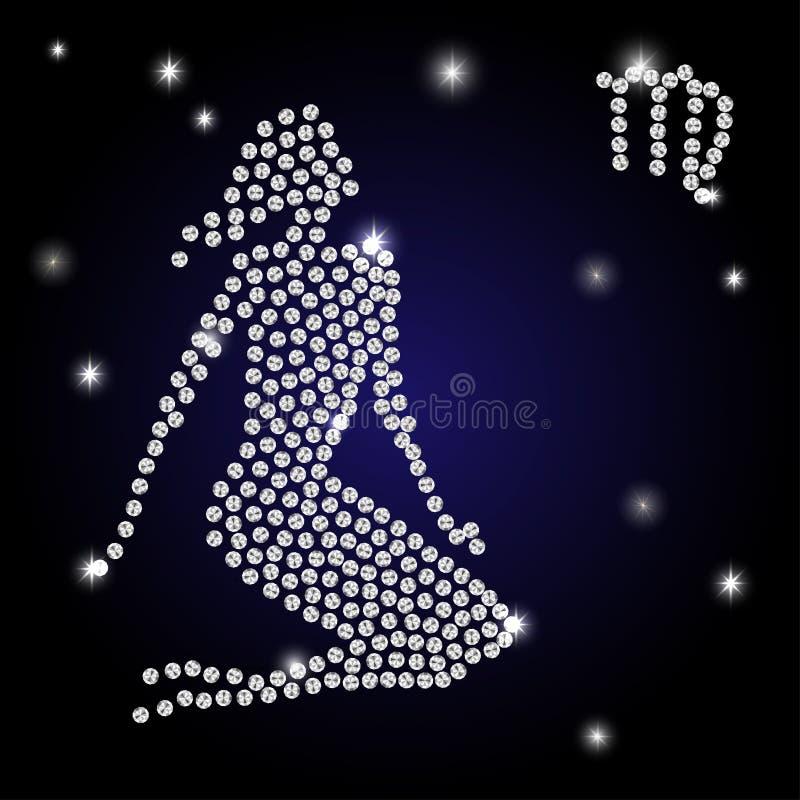 Знак Virgo зодиака звёздное небо иллюстрация штока
