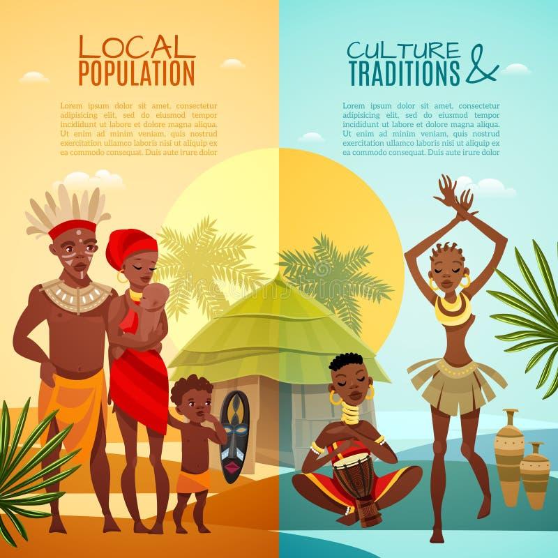 Знамена африканской племенной жизни вертикальные плоские иллюстрация штока