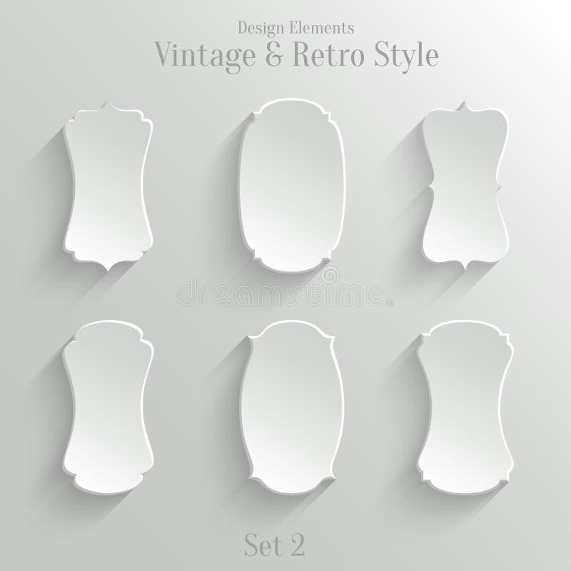 Знамена белой бумаги установленные в винтажный стиль иллюстрация штока