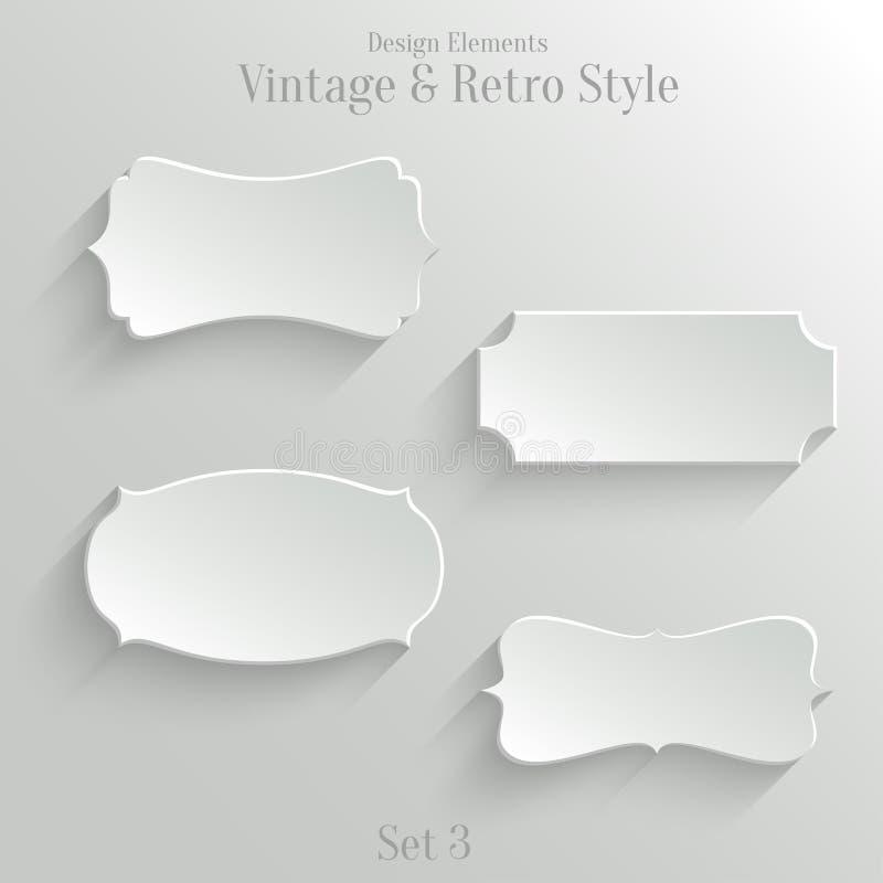 Знамена белой бумаги установленные в винтажный стиль бесплатная иллюстрация
