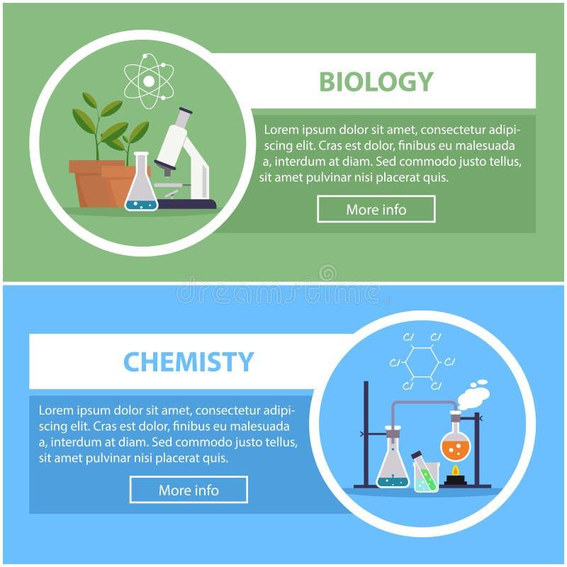Знамена биологии и физики концепция научного оборудования, места для работы бесплатная иллюстрация