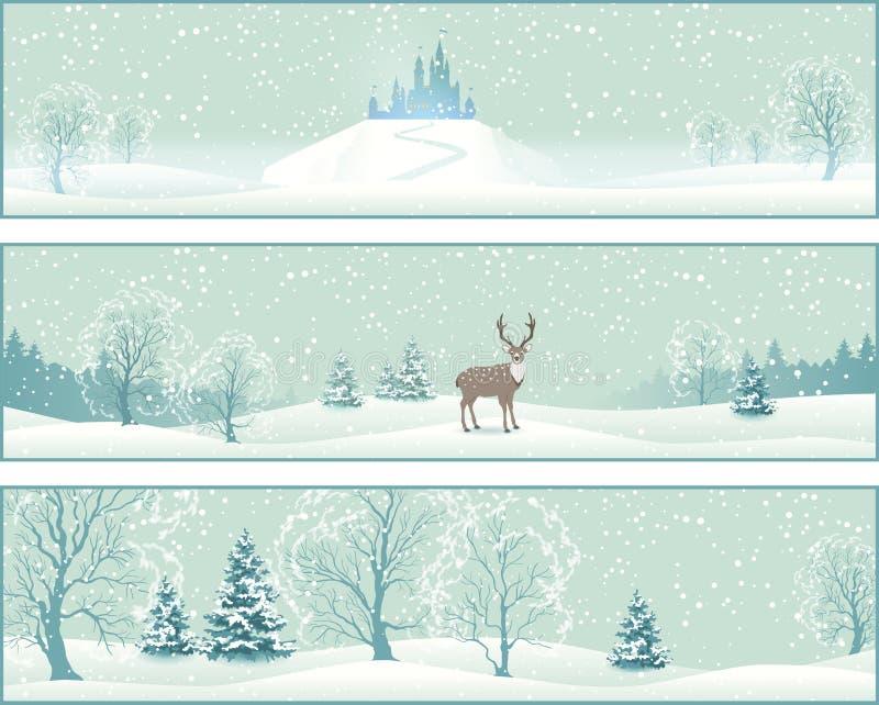 Знамена вектора ландшафта зимы иллюстрация штока