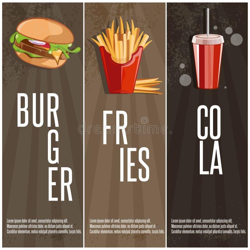 знамена вектора еды с бургером, зажаренными картошками и колой бесплатная иллюстрация