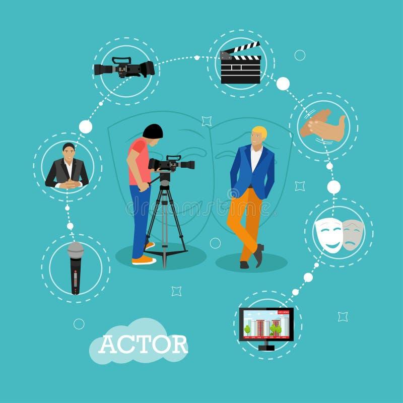Знамена вектора концепции стрельбы кино в плоском стиле Представления актера для человека камеры иконы элементов конструкции кино иллюстрация штока