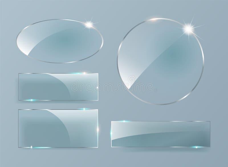 Знамена вектора стеклянные на прозрачной предпосылке Установленные стеклянные пластинки иллюстрация штока