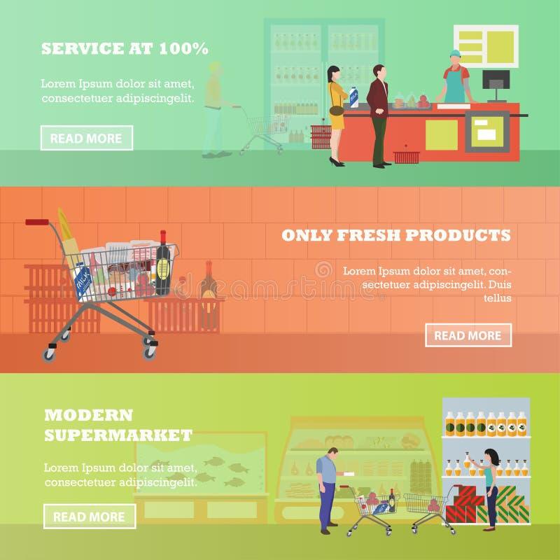 Знамена вектора супермаркета в плоском стиле Продукты покупки клиентов в продовольственном магазине Ходить по магазинам людей иллюстрация вектора