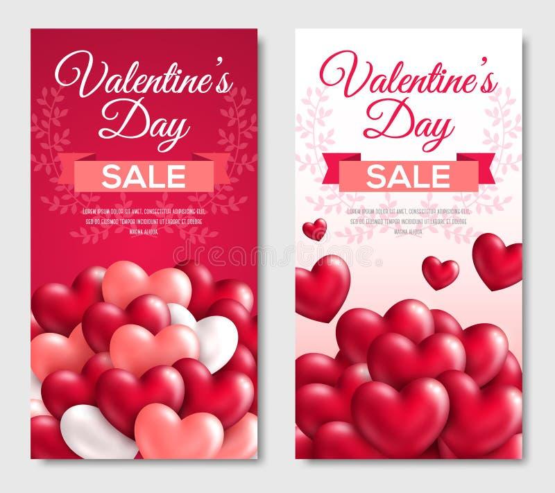 Знамена вертикали продажи дня валентинок иллюстрация штока