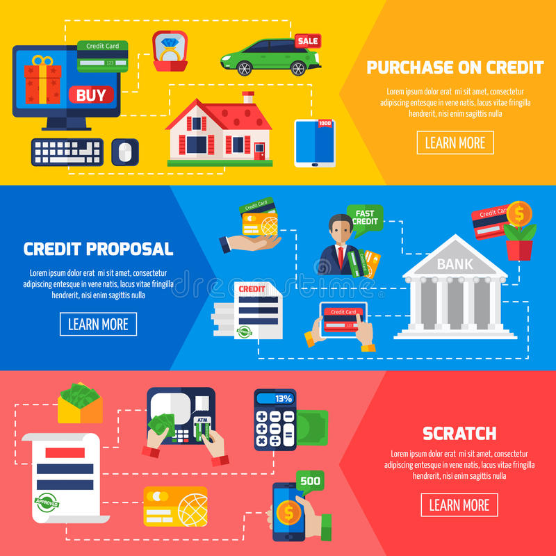 Знамена задолженности по кредиту горизонтальные иллюстрация штока