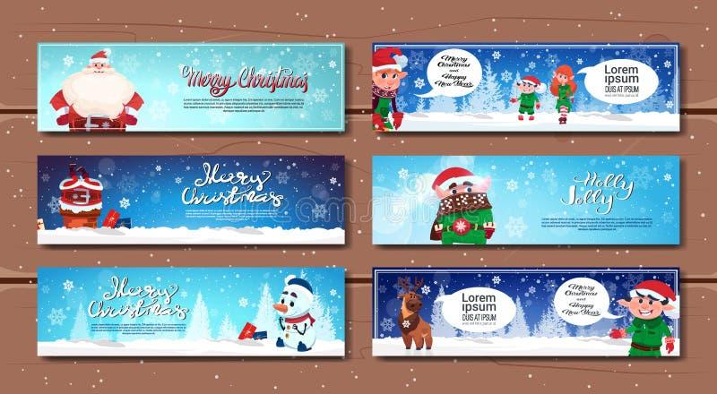Знамена зимних отдыхов горизонтальные с персонажами из мультфильма с Рождеством Христовым и счастливыми карточками Нового Года бесплатная иллюстрация