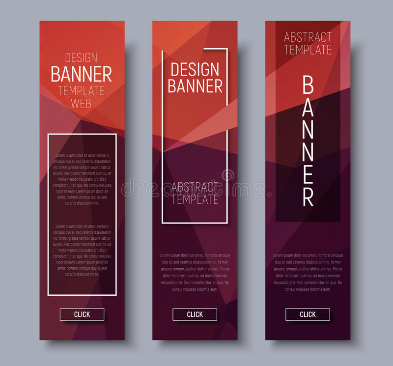 Знамена дизайна вертикальные с полигональной коричневой предпосылкой иллюстрация штока