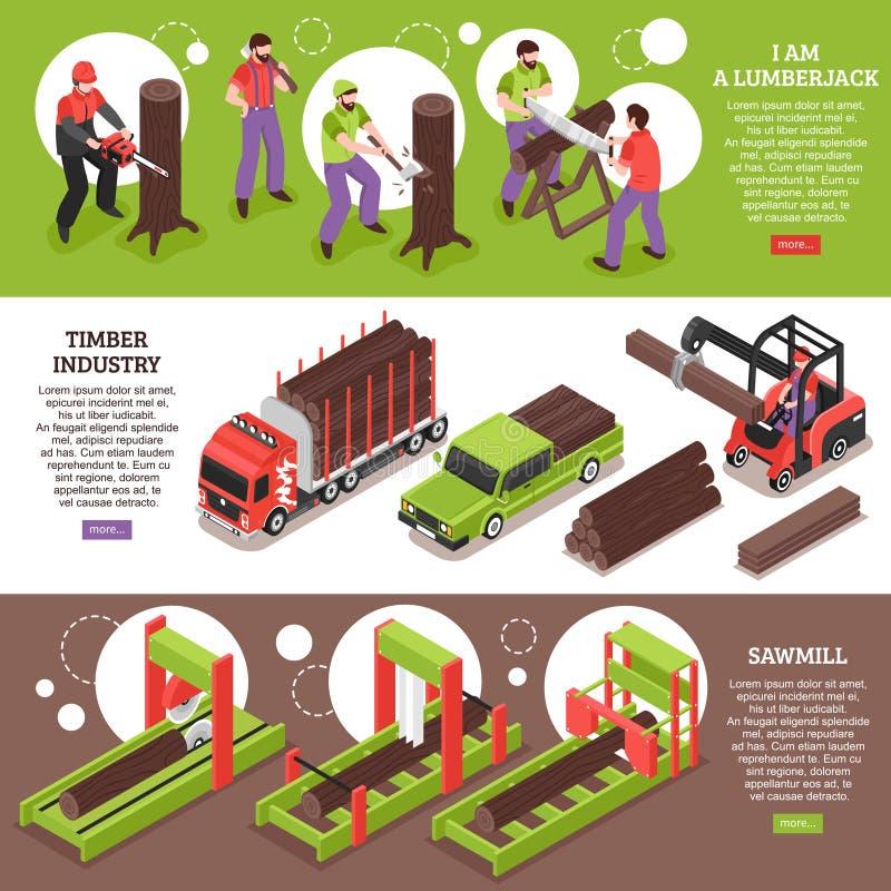 Знамена индустрии тимберса горизонтальные иллюстрация штока