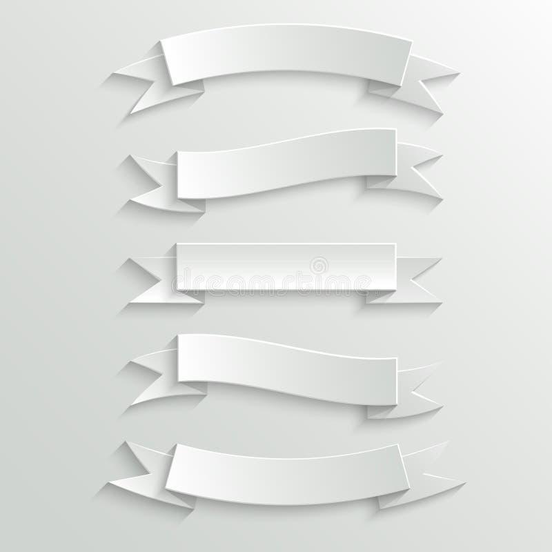Знамена и ленты белой бумаги бесплатная иллюстрация