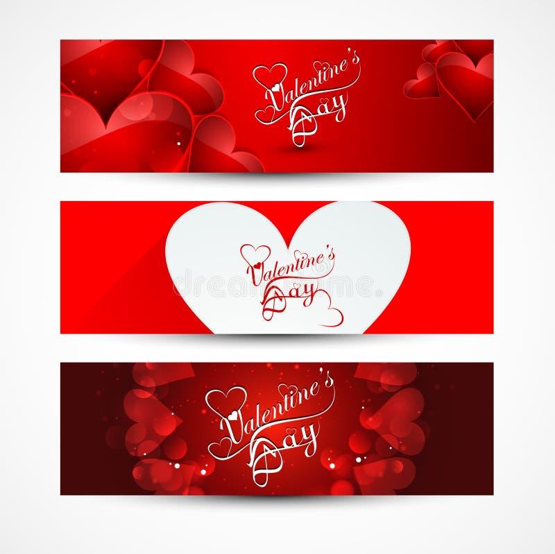 Знамена или заголовки дня валентинки установили красочный  бесплатная иллюстрация