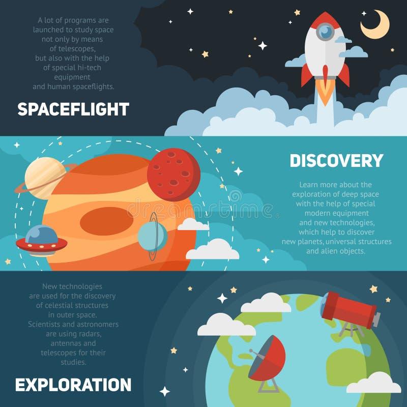 Знамена и карточки темы космоса иллюстрация вектора